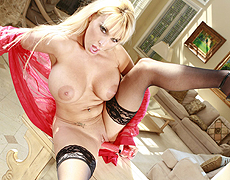 Blonde bodacious melon chested MILF, Holly Halston, is not waiting for her young cock to get home to fill her throbbing pussy. Holly grabs her favorite toys and begins to self fuck her dripping hot pussy spreading wide on the floor in her hot heels. Watch Holly bury her dildos deep inside her pink honey dripping pussy.